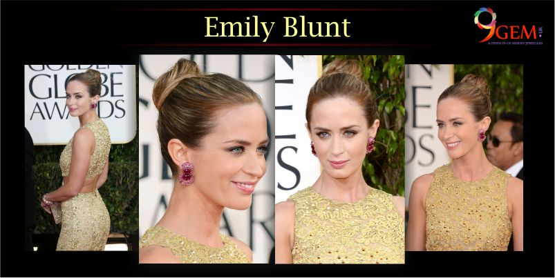 Emily Blunt Wear Ruby Gemstone Studs
