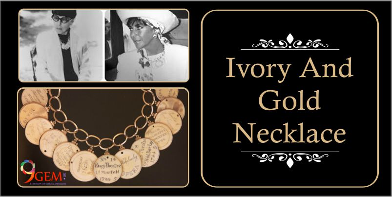 elizabeth taylor wear ivory and gold necklace